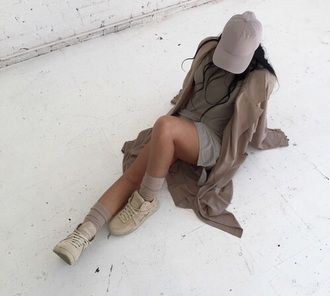 jacket shoes dress cap nude grey brown