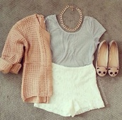 shorts,lace,white,High waisted shorts,sweater,shoes,shirt,jewels,pink,blouse,grey,cream,gold,cardigan,jacket,t-shirt,coat,pink cardigan,jewelry,top