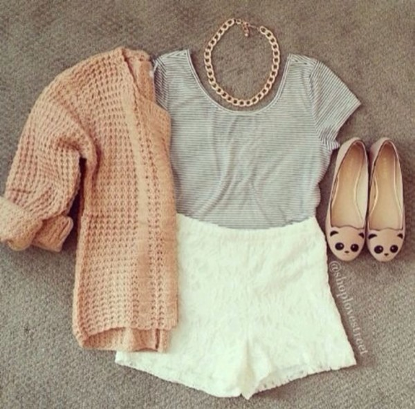 shorts lace white High waisted shorts sweater shoes shirt jewels pink panda shoes pretty sweater jacket
