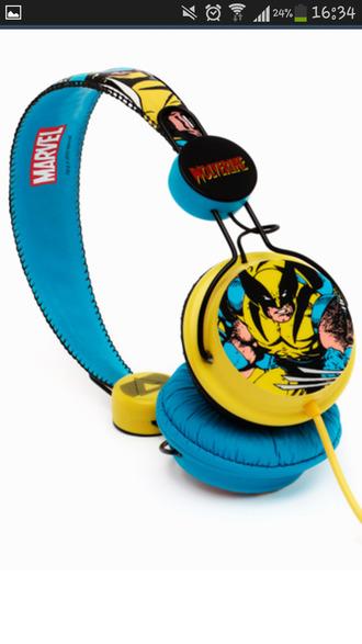 earphones head phones the avengers marvel marvel superheroes wolverine yellow
