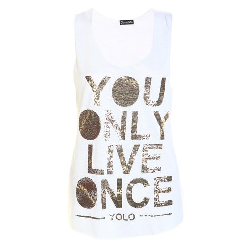 LADIES YOLO GOLD FOIL PRINTED TOP WOMENS YOU ONLY LIVE ONCE VEST TOP SIZE 8-14 | Amazing Shoes UK