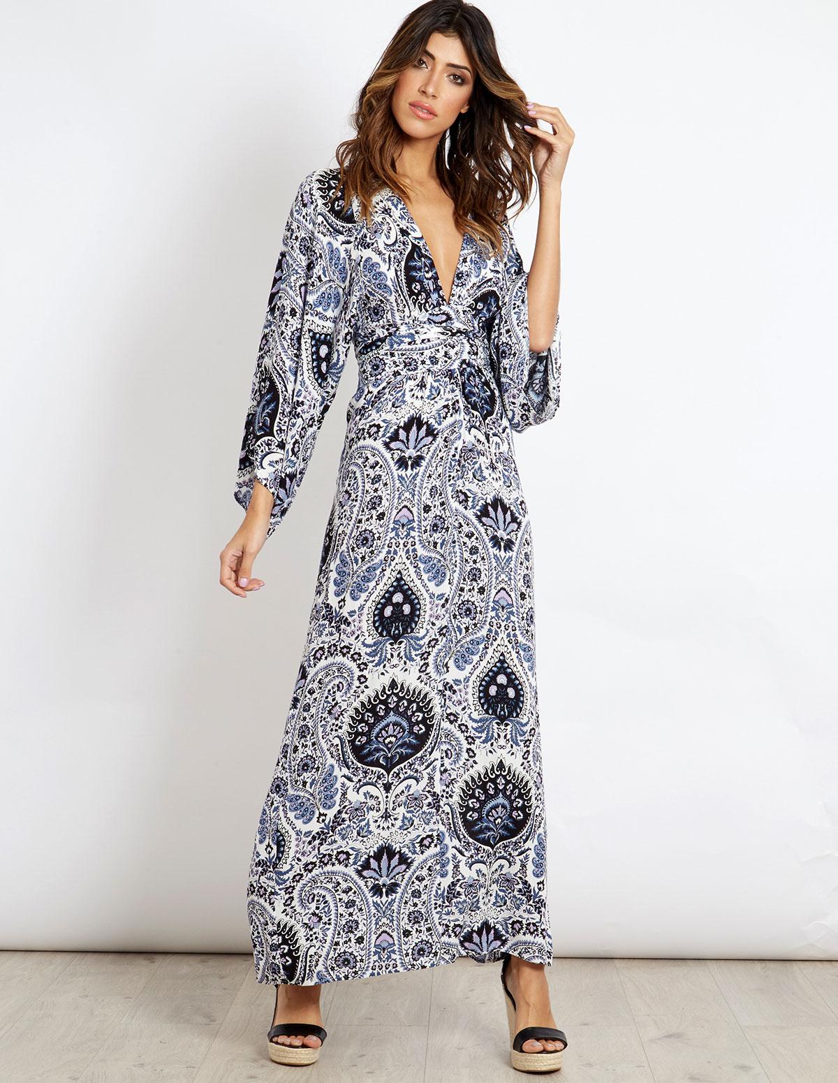 e2cc60dc3 JESSIKA - Printed Kimono Maxi Dress - Blue Vanilla