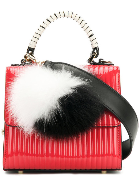 mini fur women bag mini bag leather red