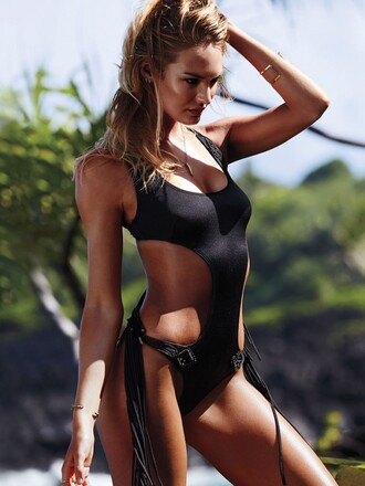 candice swanepoel one piece swimsuit black cut-out swimwear