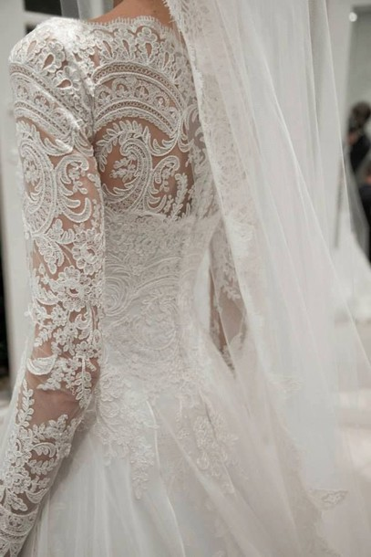 Dress: wedding, wedding dress, ball gown dress, lace sleeves, lace ...