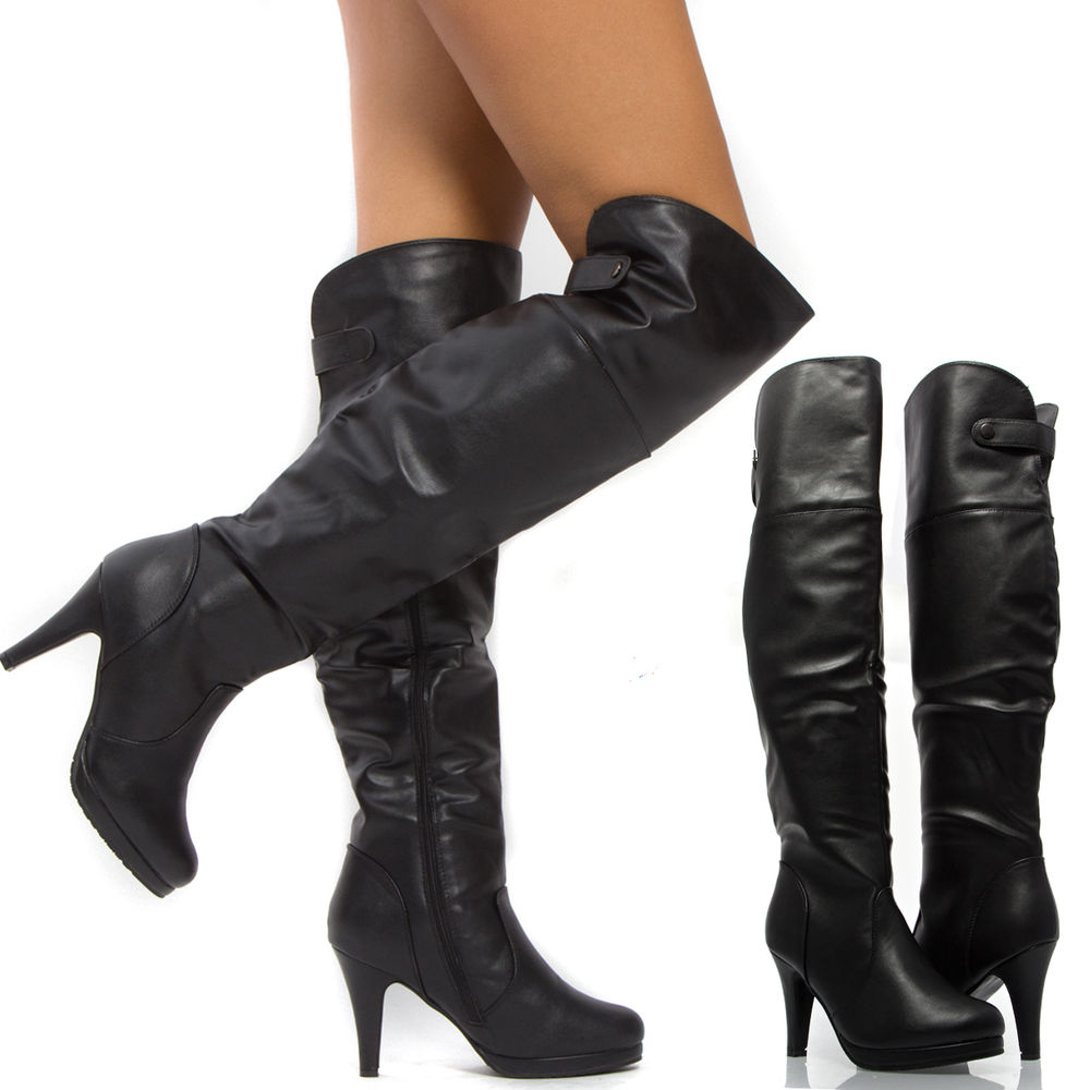 5677028d71a Women Black PU Leather Over Knee Thigh High Stiletto Heel Tall ...