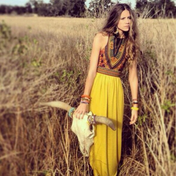 dress yellow embrodered maxi dress