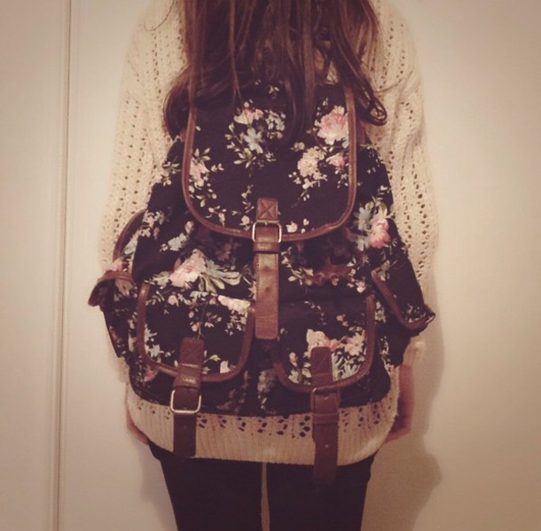 Bag, Backpack, Floral Bag, Floral, Flowers, Vintage
