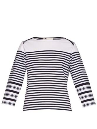 top cotton navy white