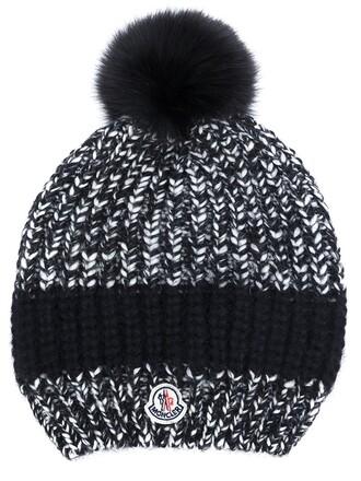 fur fox women beanie pom pom beanie black hat
