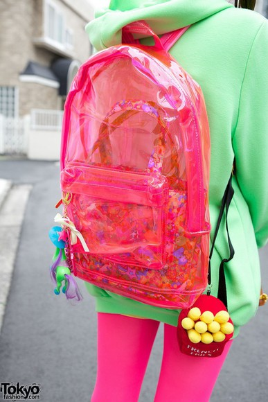 90s style style grunge bag neon clear see through backpack hipster