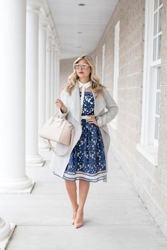 suburban faux-pas blogger coat dress shoes bag sunglasses make-up jewels handbag blue dress nude heels high heel pumps valentines day date outfit date dress midi dress