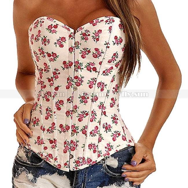 White Demin Floral Overbust Corset Outerwear Top Lace up Jean Flowers Bustier S M L XL 2XL-in Bustiers & Corsets from Apparel & Accessories on Aliexpress.com