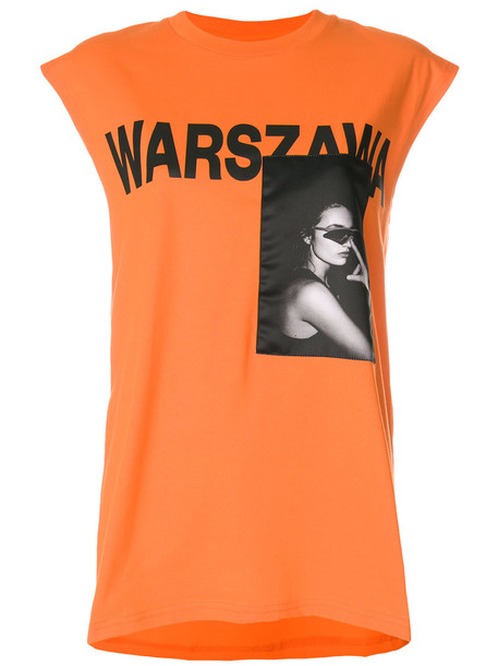 t-shirt shirt t-shirt sleeveless women cotton print yellow orange top