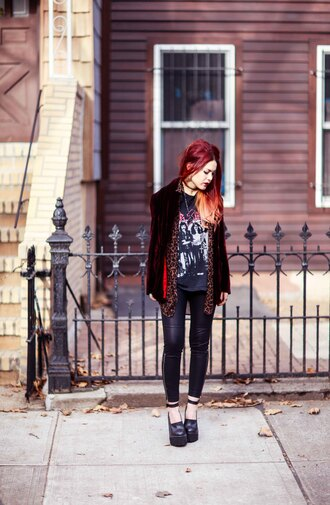 le happy blogger jacket soft grunge band t-shirt platform shoes leather pants