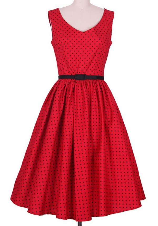 50s style vintage dress retro retro dress cute dress clothes clothes 50s style 60s style vintage red dress polka dots polka dots dress