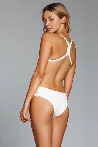 swimwear bikini bottoms full coverage high waisted macramé white bikiniluxe