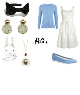 dress alice in wonderland cardigan hair accessory bag shoes jewels