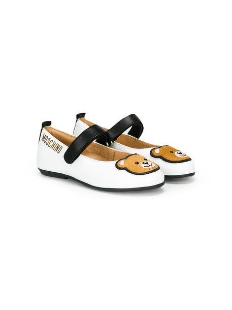 Moschino Kids bear leather white shoes