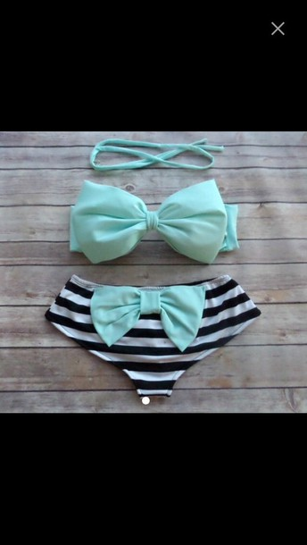 swimwear bikini bottoms bikini top blue bow cute love blue swimwear swimwear love adorable swimsuit