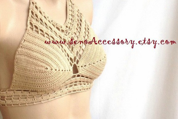 tank top swimwear women crochet beach brown beige tank top crop tops halter top halter tank fashion style summer top women top summer crochet crop top halter bikini bikini top swimwear swimwear two piece