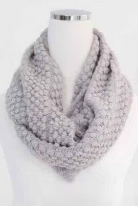 Traveled Road Knitted Infinity Scarf in Light Grey | Sincerely Sweet Boutique