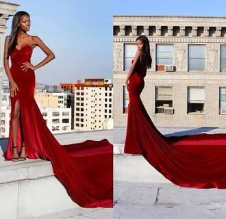 dress velvet dress prom dress red