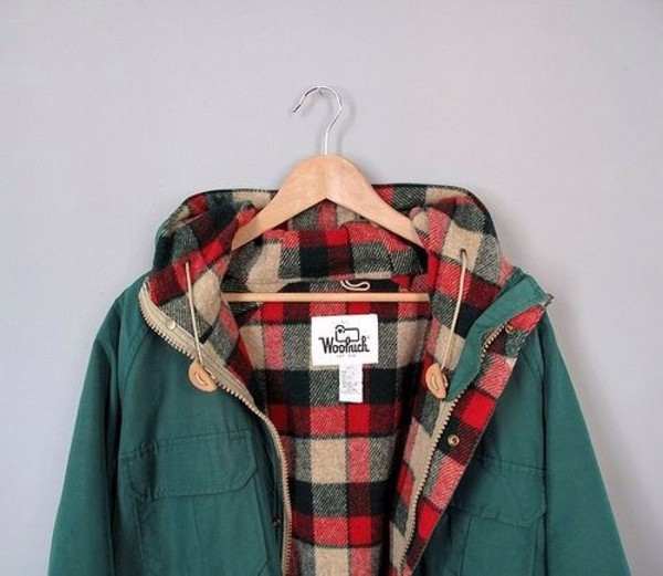 coat jacket plaid hipster cute fashion vintage warm winter outfits green red