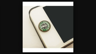 home accessory green starbucks phone button starbucks coffee technology