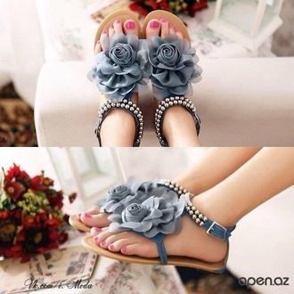 shoes sandals blue flowers cute beautiful like it