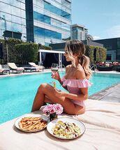 swimwear,off the shoulder swimsuit,off the shoulder,one piece swimsuit,pink swimwear