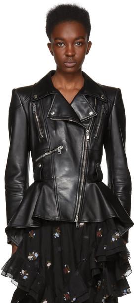 Alexander Mcqueen jacket peplum jacket leather black black leather