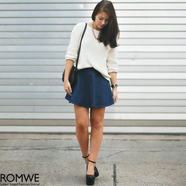 ROMWE | High Waist Dark Blue Denim Skirt, The Latest Street Fashion
