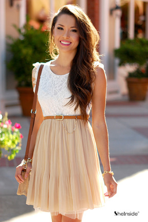 Beige Lace Frill Sleeve Belt Chiffon Pleated Dress - Sheinside.com