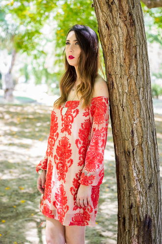 shoes and basics blogger off the shoulder dress red dress