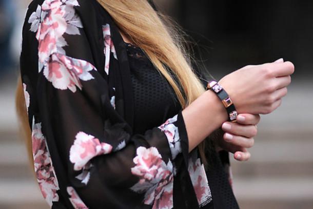 jacket pink floral kimono sheer black