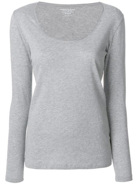 Majestic Filatures - scoop neck top - women - Cotton/Cashmere - IV, Grey, Cotton/Cashmere