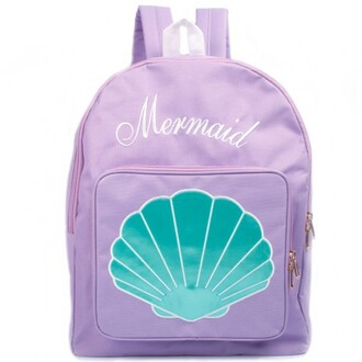 bag pastel cute backpack mermaid shell back to school blue lilac boogzel