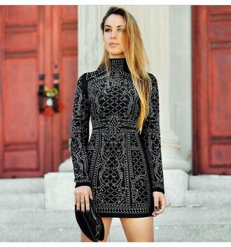dress turtleneck black dress sequin dress clutch long sleeves long sleeve dress balmain