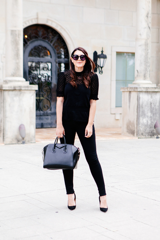kendi everyday blogger shoes top work outfits all black everything black jeans black top office outfits givenchy givenchy bag