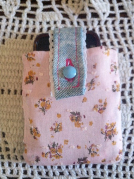 bag floral fabric floral bag handbag denim bag purse iphone cover purse/iphone case handmade cute bag