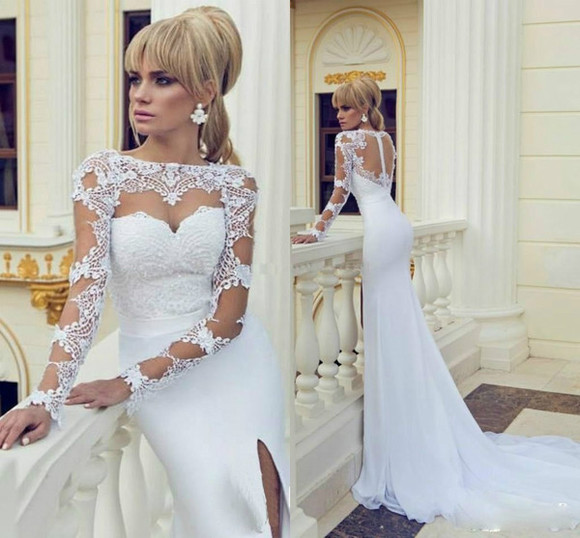 white dress lace dress backless dress long sleeve dress evening dress wedding dress prom dress mermaid dress high slit elegant dress