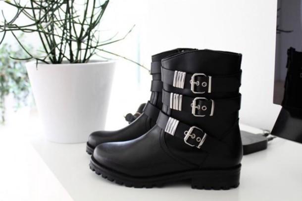 shoes black black boots boots biker boots