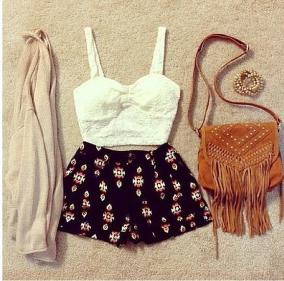 bag brown bag black jacket shorts tribal aztec black shorts black and tribal tribal print aztec print white bandeau tan sweater white shirt white tank top