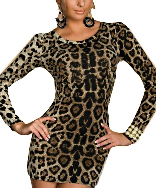 New Hot Women Leopard Long Sleeve Party Dress Sexy Ladies Mini Skirt Clubwear Hip Slim on Luulla