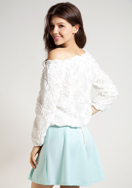 3D Rose Top - White