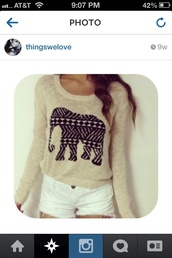shirt,sweater,elephant,elephant sweater,beige top,long sleeves,black elephant,design,aztec,tribal pattern,white,shorts,white shorts,cute,outfit,creme,beige,aztec sweater,cute sweaters