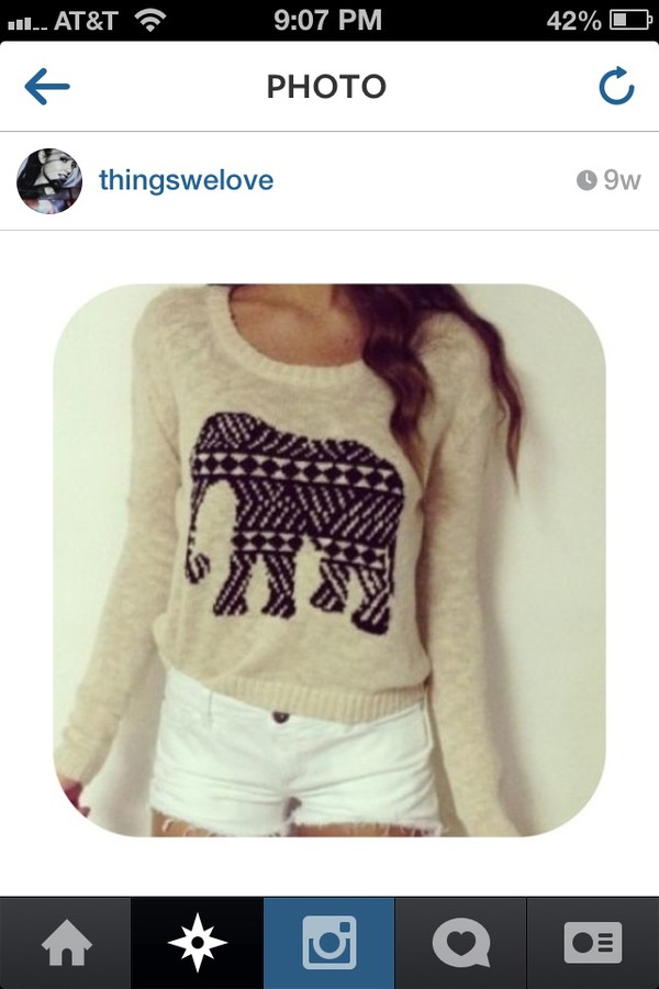 shirt sweater elephant elephant sweater beige top long sleeves black elephant design aztec tribal pattern white shorts white shorts cute outfit creme beige aztec sweater cute sweaters