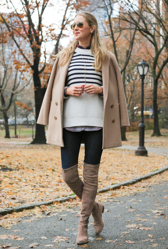 the classy cubicle blogger sunglasses striped sweater pea coat camel thigh high boots winter outfits