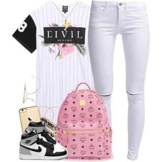 bag pink mcm bag mcm shirt black and white graphic tee